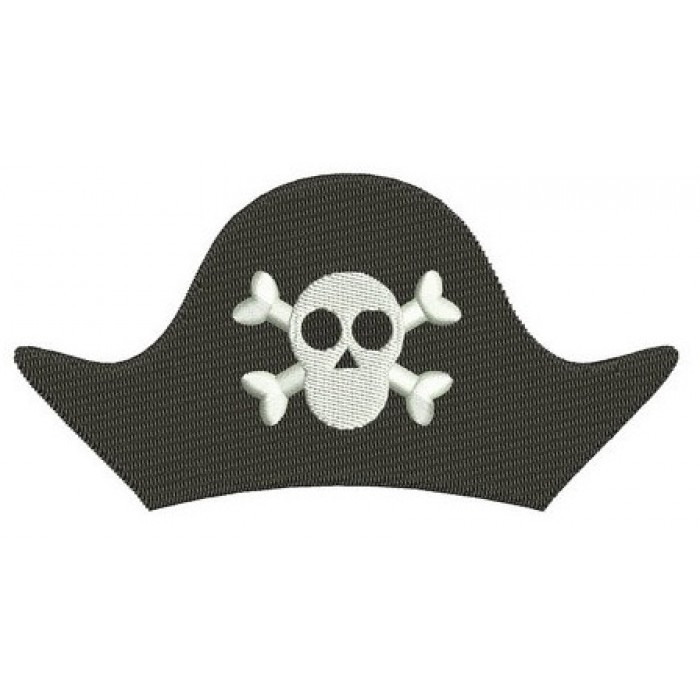 Pirate Hat Skull and Bones Digitized Machine Embroidery Design Filled Pattern - Instant Download - 4x4 , 5x7, 6x10
