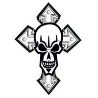 Cross Skull Applique Digitized Machine Embroidery Design Pattern - Instant Download - 4x4 , 5x7, 6x10