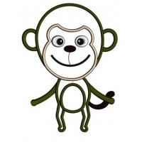Cute Little Monkey Applique Machine Embroidery African Animal Digitized Pattern - Instant Download - sizes to fit 4x4 , 5x7, and 6x10 hoops