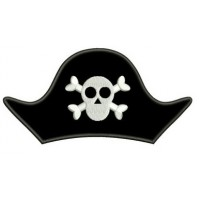 Pirate Hat Skull and Bones Applique Digitized Machine Embroidery Design Pattern - Instant Download - 4x4 , 5x7, 6x10