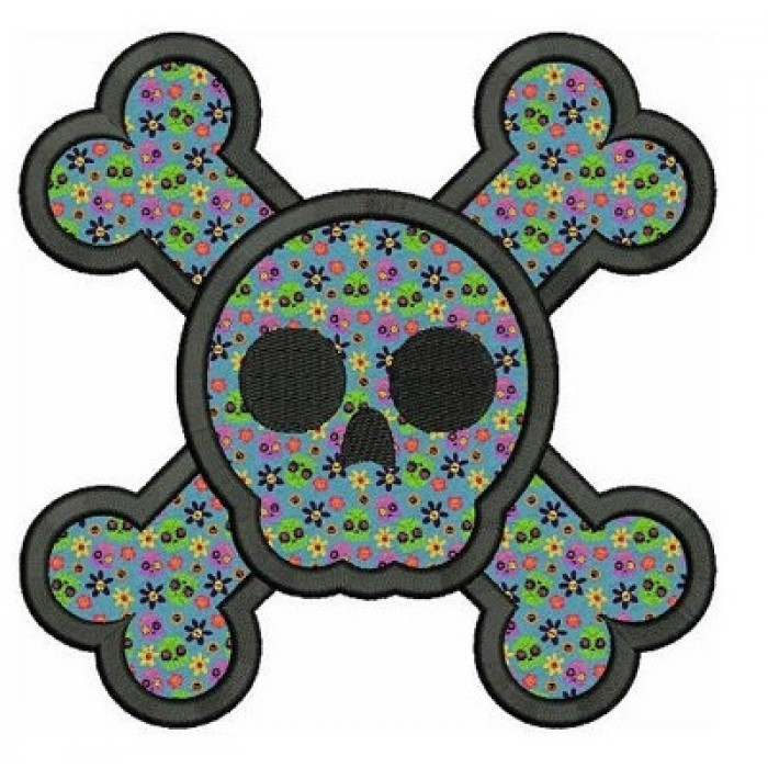 Skull and Bones Applique Digitized Machine Embroidery Design Pattern - Instant Download - 4x4 , 5x7, 6x10
