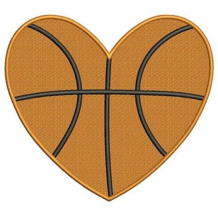 Basketball Heart Machine Embroidery Digitized Filled Design Pattern - Instant Download - 4x4 , 5x7, 6x10