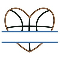 Basketball Heart Split Applique Machine Embroidery Digitized Design Pattern - Instant Download - 4x4 , 5x7, 6x10