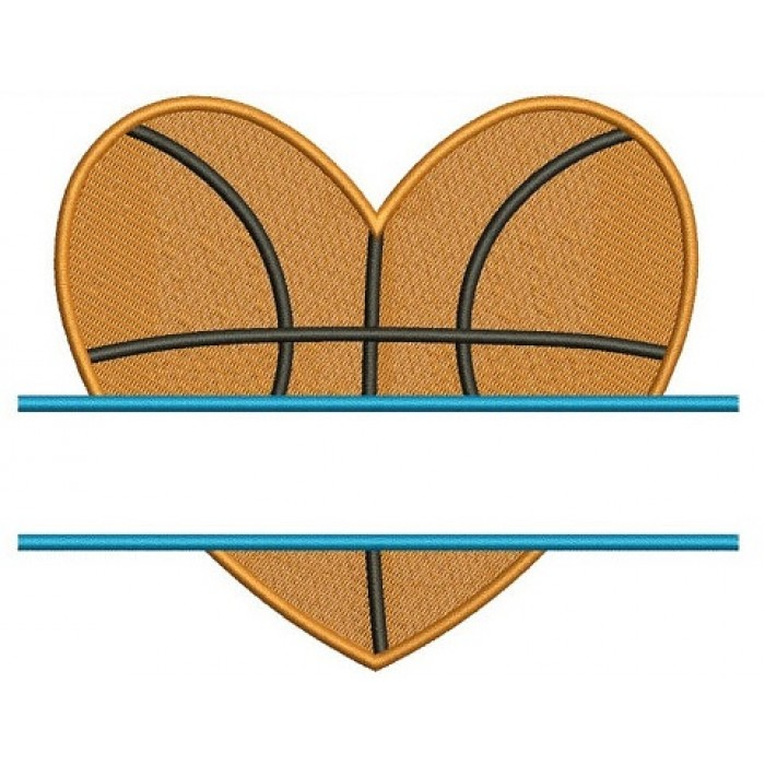 Basketball Heart Split Machine Embroidery Digitized Design Filled Pattern - Instant Download - 4x4 , 5x7, 6x10