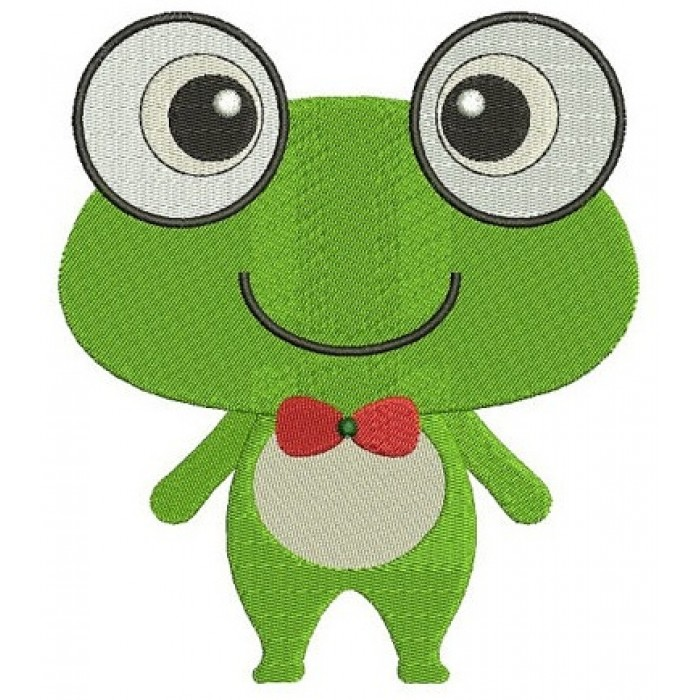 Cute Frog Machine Embroidery Digitized Design Filled Pattern - Instant Download - 4x4 , 5x7, and 6x10 -hoops