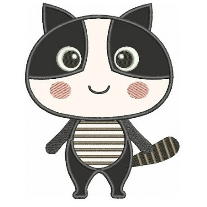 Cute Raccoon Applique Machine Embroidery Digitized Design Animal Pattern - Instant Download - 4x4 , 5x7, and 6x10 -hoops