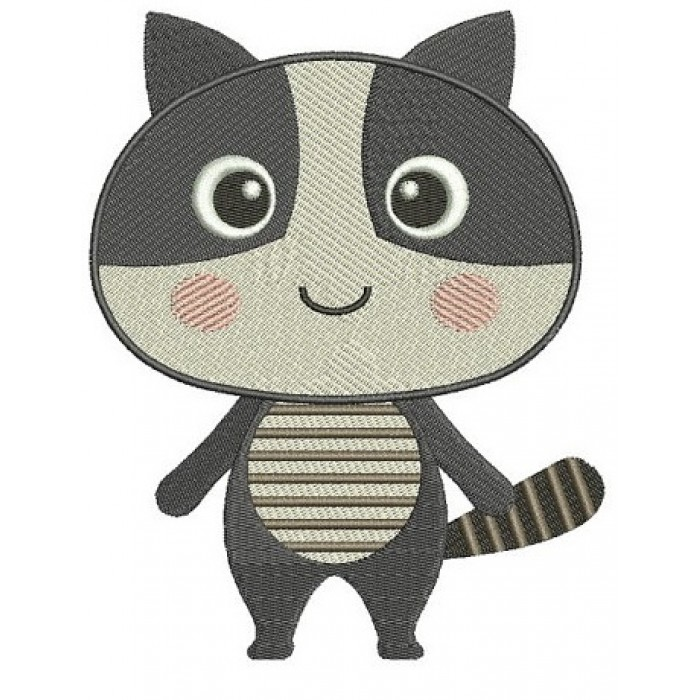 Cute Raccoon Machine Embroidery Digitized Design Animal Filled Pattern - Instant Download - 4x4 , 5x7, and 6x10 -hoops