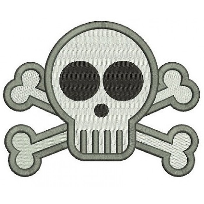 Cute Skull and Bones Digitized Machine Embroidery Design Filled Pattern - Instant Download - 4x4 , 5x7, 6x10