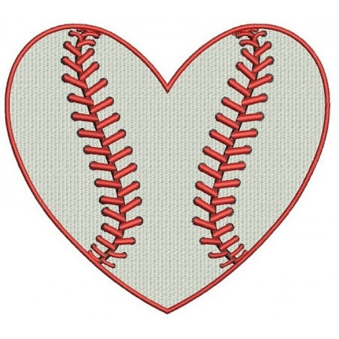 Heart Baseball Machine Embroidery Filled Digitized Design Pattern - Instant Download - 4x4 , 5x7, and 6x10 -hoops