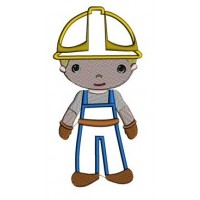 Little Construction Worker Machine Embroidery Applique Digitized Design Pattern - Instant Download - comes in 3 sizes 4x4 , 5x7,6x10 hoops
