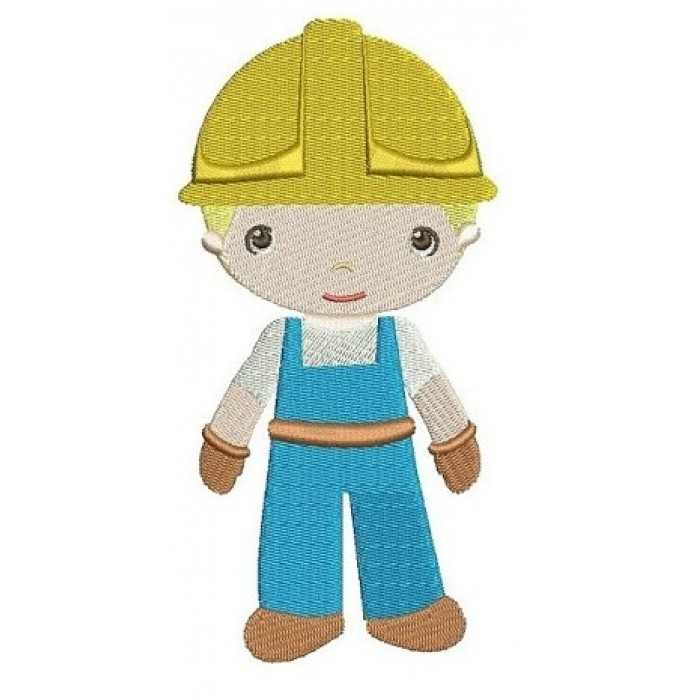 Little Construction Worker Machine Embroidery Digitized Design Filled Pattern - Instant Download - comes in 3 sizes 4x4 , 5x7,6x10 hoops