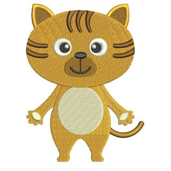 Little Kitty Cat Animal Machine Embroidery Digitized Design Filled Pattern - Instant Download - comes in three sizes 4x4 , 5x7, 6x10 hoops