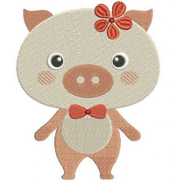 Little Piggy Machine Embroidery Digitized Design Filled Pattern - Instant Download - 4x4 , 5x7, and 6x10 -hoops