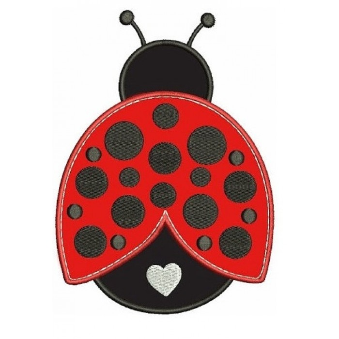 Cute Ladybug with a Heart Applique Machine Embroidery Digitized Design Pattern - Instant Download - 4x4 , 5x7, and 6x10 -hoops