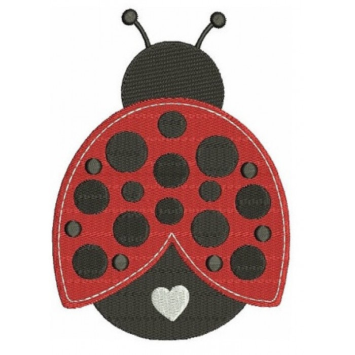 Cute Ladybug with a Heart Machine Embroidery Digitized Design Filled Pattern - Instant Download - 4x4 , 5x7, and 6x10 -hoops