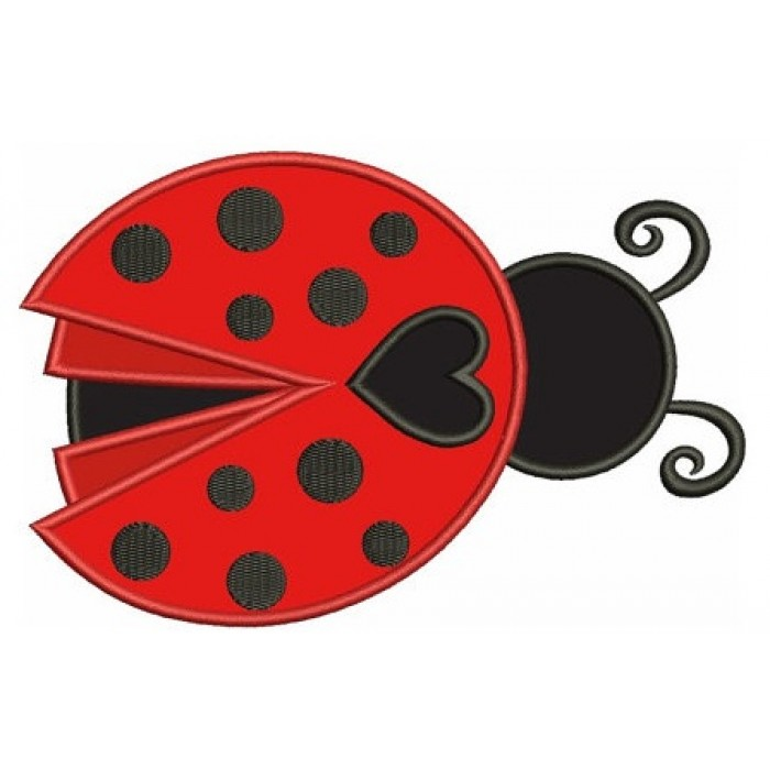 Ladybug with a Heart Applique Machine Embroidery Digitized Design Pattern - Instant Download - 4x4 , 5x7, and 6x10 -hoops
