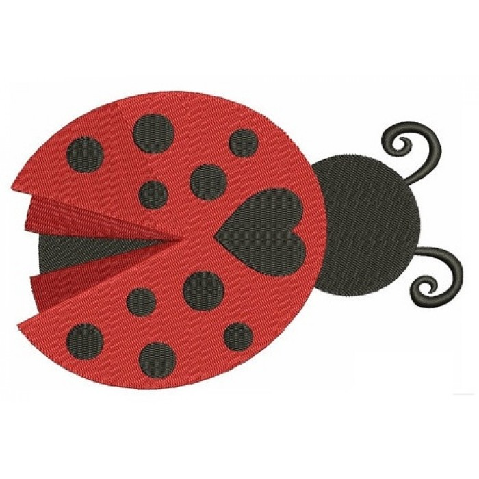 Ladybug with a Heart Machine Embroidery Digitized Design Filled Pattern - Instant Download - 4x4 , 5x7, and 6x10 -hoops