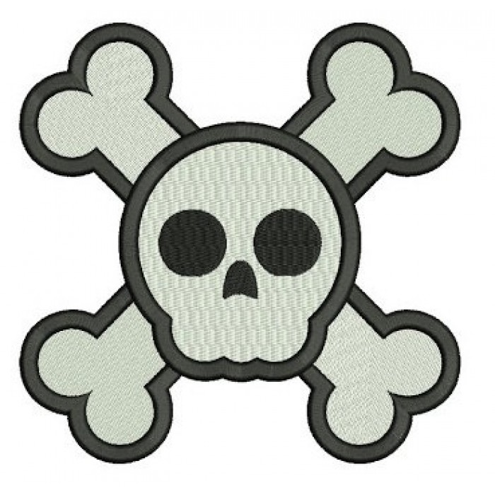 Skull and Bones Digitized Machine Embroidery Design Filled Pattern - Instant Download - 4x4 , 5x7, 6x10