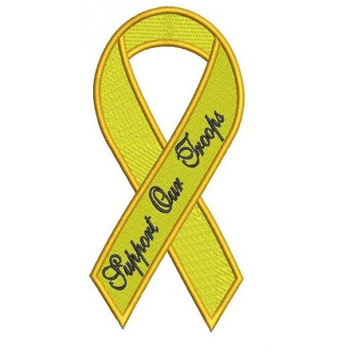 Support Our Troops Yellow Ribbon Machine Embroidery Digitized Filled Pattern - Instant Download 4x4 , 5x7, 6x10 hoops