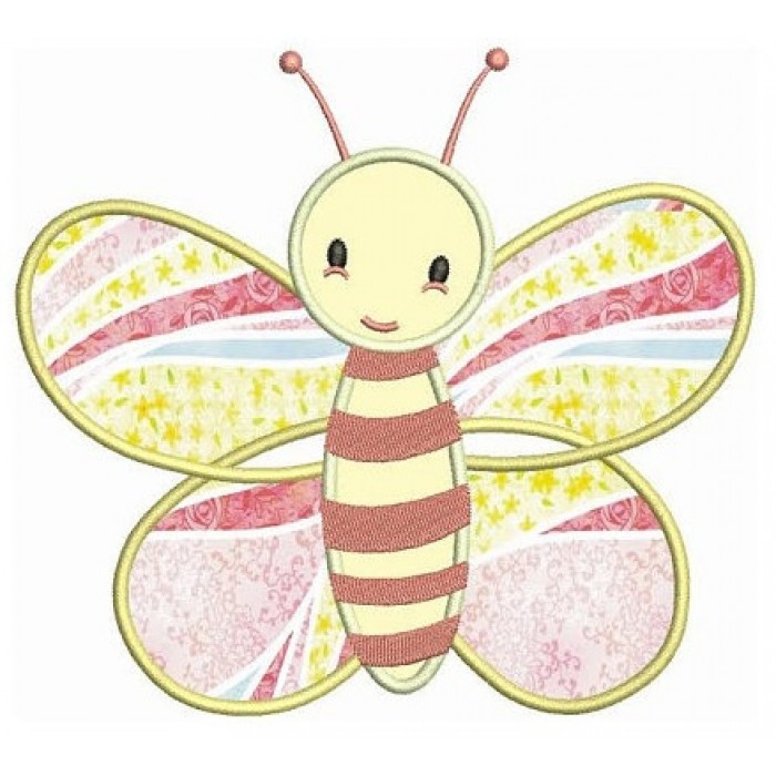 Cute baby butterfly applique machine embroidery digitized design
