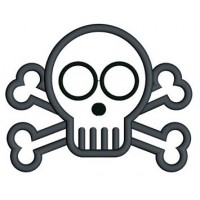 Cute Skull and Bones Applique Digitized Machine Embroidery Design Pattern - Instant Download - 4x4 , 5x7, 6x10