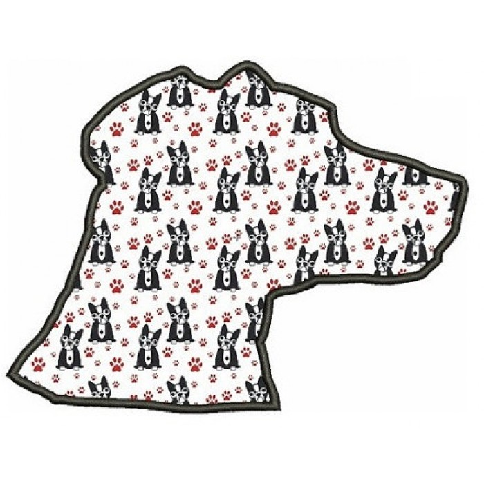 Dog Silhouette Applique Digitized Machine Embroidery Design Pattern - Instant Download - 4x4 , 5x7, 6x10