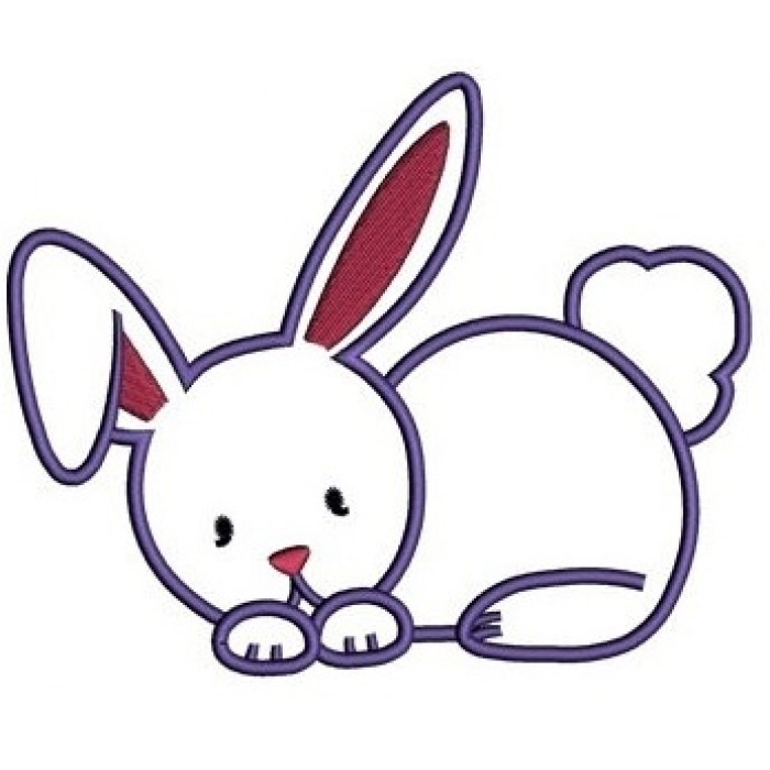 Easter Bunny Applique Machine Embroidery Digitized Design Pattern - Instant Download - 4x4 , 5x7, 6x10