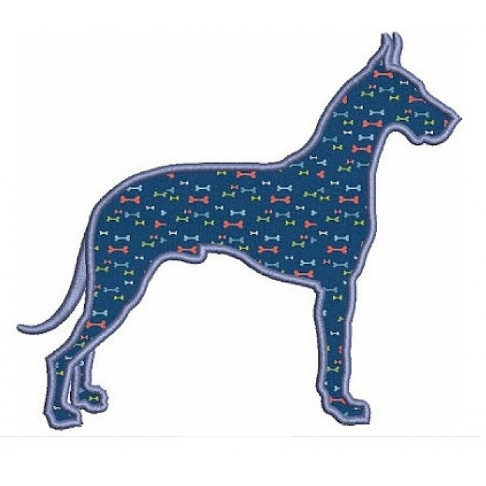 Great Dane Dog Applique Digitized Machine Embroidery Design Pattern - Instant Download - 4x4 , 5x7, 6x10