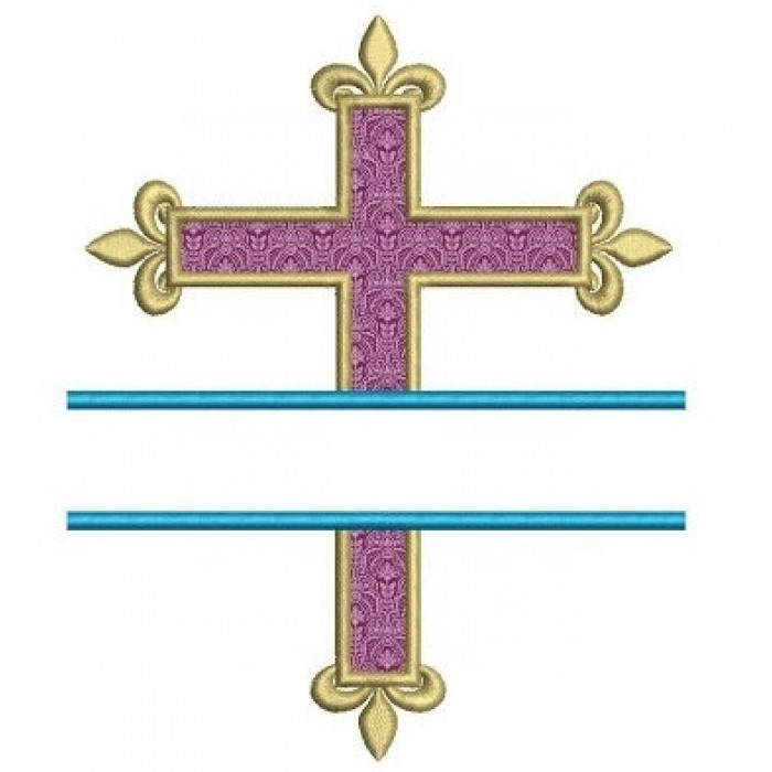 Victorian Cross Split Applique Machine Embroidery Digitized Design Pattern - Instant Download - 4x4 , 5x7, 6x10