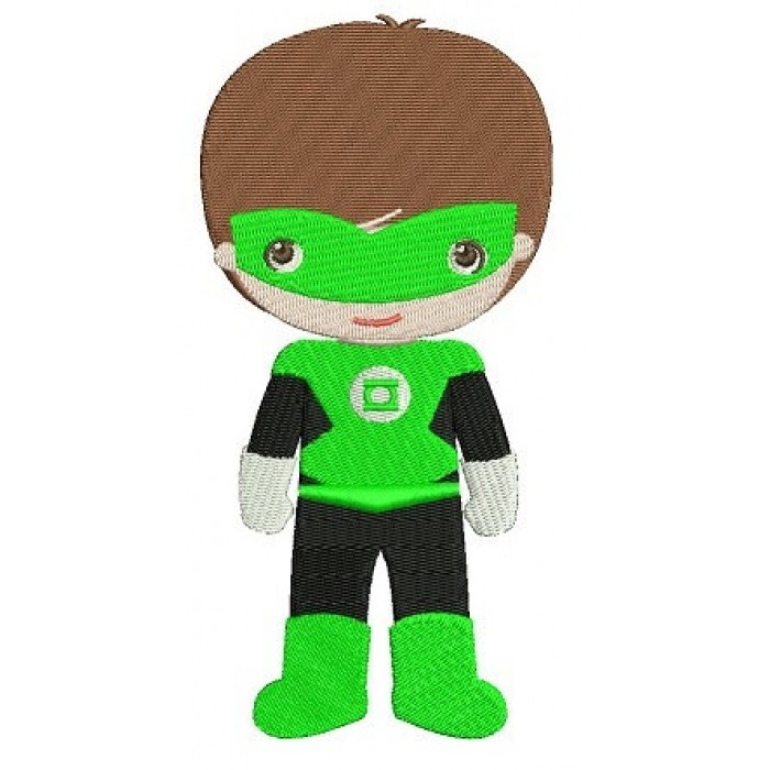 Instant Download Cute Boy Green Lantern's Little Brother (hands out) Machine Embroidery Design