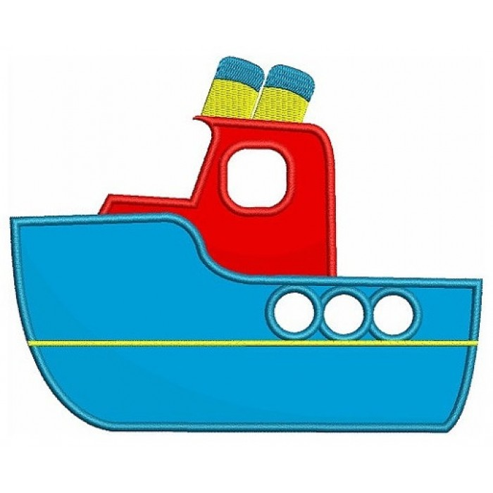 Instant Download Very Cute Boat Machine Embroidery Applique Design