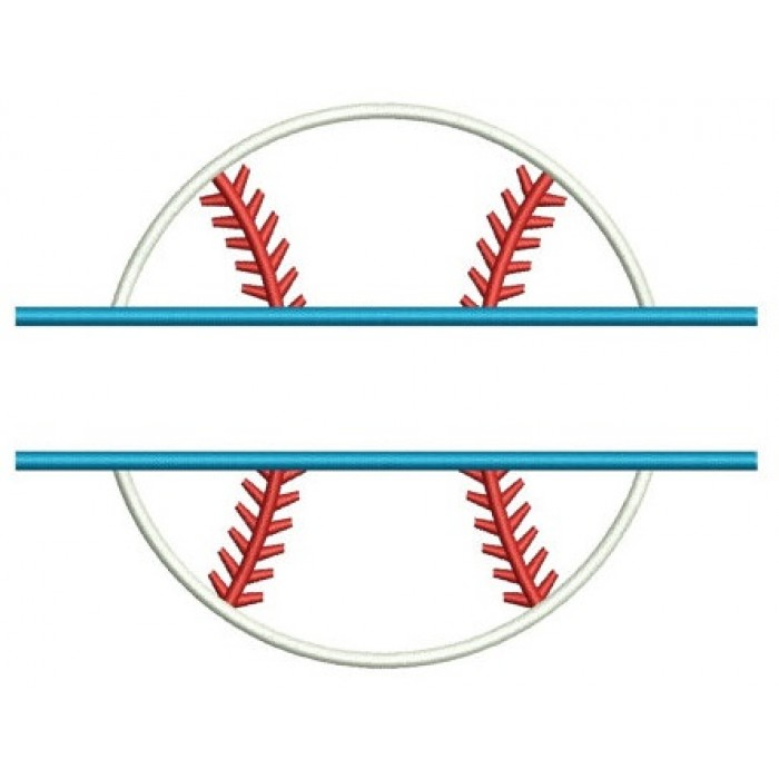 Baseball Split Applique Machine Embroidery Digitized Design Pattern  - Instant Download - 4x4 , 5x7, and 6x10 -hoops