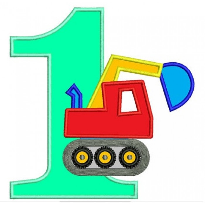 First (1st) Birthday Excavator Construction Truck Machine Embroidery Applique Design Pattern- Instant Download - 4x4 , 5x7, and 6x10 hoops