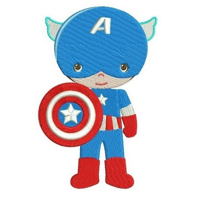 Instant Download Cute Captain America Little Brother (hands out) Superhero Machine Embroidery Design