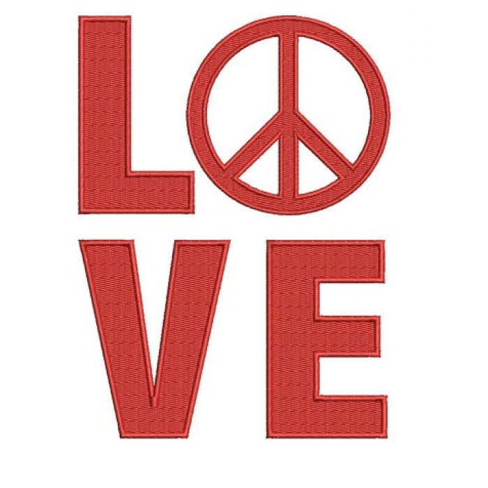 Love Peace Machine Digitized Design Embroidery Filled Pattern - Instant Download - 4x4 , 5x7, and 6x10 -hoops