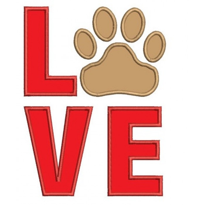 Love my Dog Paw Machine Embroidery Digitized Applique (pattern) - Instant Download - for 4x4 , 5x7, and 6x10 hoops
