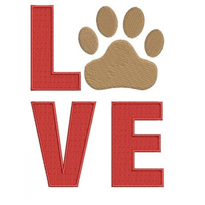 Love my Dog Paw Machine Embroidery Digitized Filled Design (pattern) - Instant Download - for 4x4 , 5x7, and 6x10 hoops