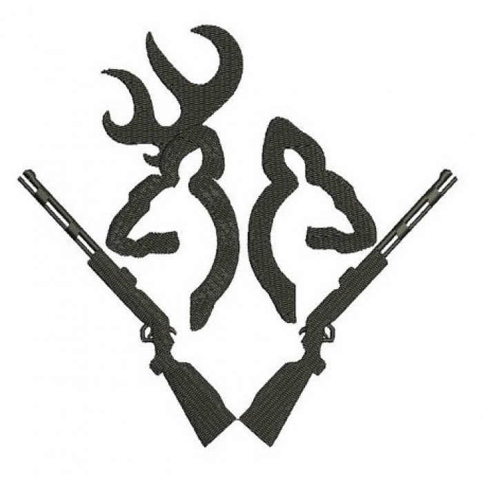 Rifle Buck and Doe Hunting Applique machine embroidery digitized design pattern - Instant Download -4x4 , 5x7, and 6x10 hoops