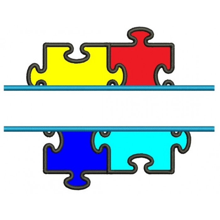 Autism Awareness Split Puzzle Applique Machine Embroidery Digitized Design Pattern - Instant Download - 4x4 , 5x7, and 6x10 -hoops