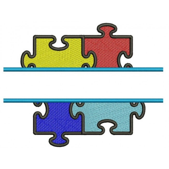 Autism Awareness Split Puzzle Machine Embroidery Digitized Design Filled Pattern - Instant Download - 4x4 , 5x7, and 6x10 -hoops