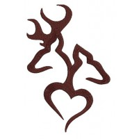 Browning Doe, Buck, deer with Heart digitized machine embroidery design - Instant Download -4x4 , 5x7, and 6x10 hoops