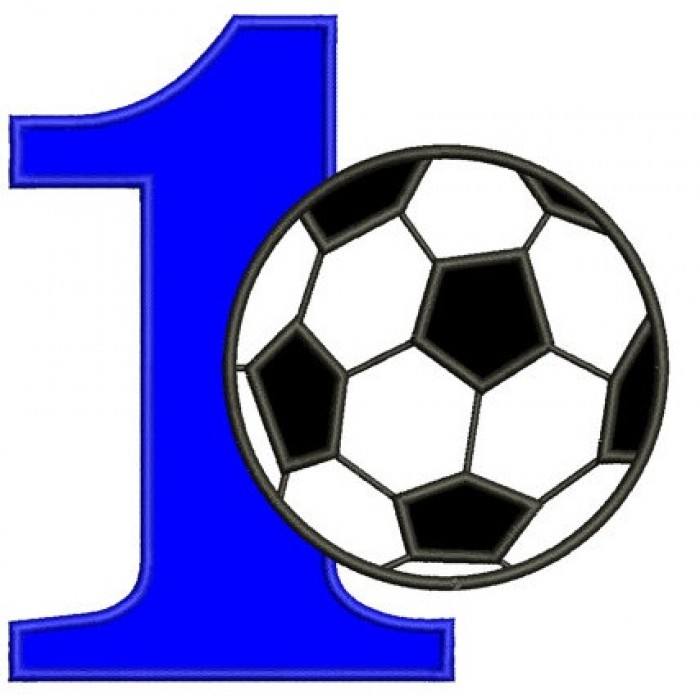 First Birthday Number 1 Soccer Ball Design Machine Embroidery Digitized Applique Pattern - Instant Download - 4x4 , 5x7, and 6x10 -hoops