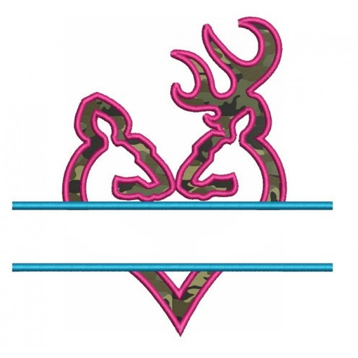 Heart Doe and Buck Applique Split machine embroidery digitized design filled Hunting pattern - Instant Download -4x4 , 5x7, 6x10 hoops