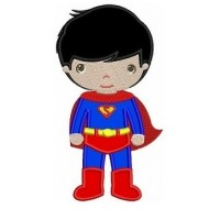 Instant Download Cute Boy Superman's Little Brother (hands out) Machine Embroidery Applique Design