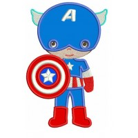Instant Download Cute Captain America Little Brother Superhero Machine Embroidery Applique
