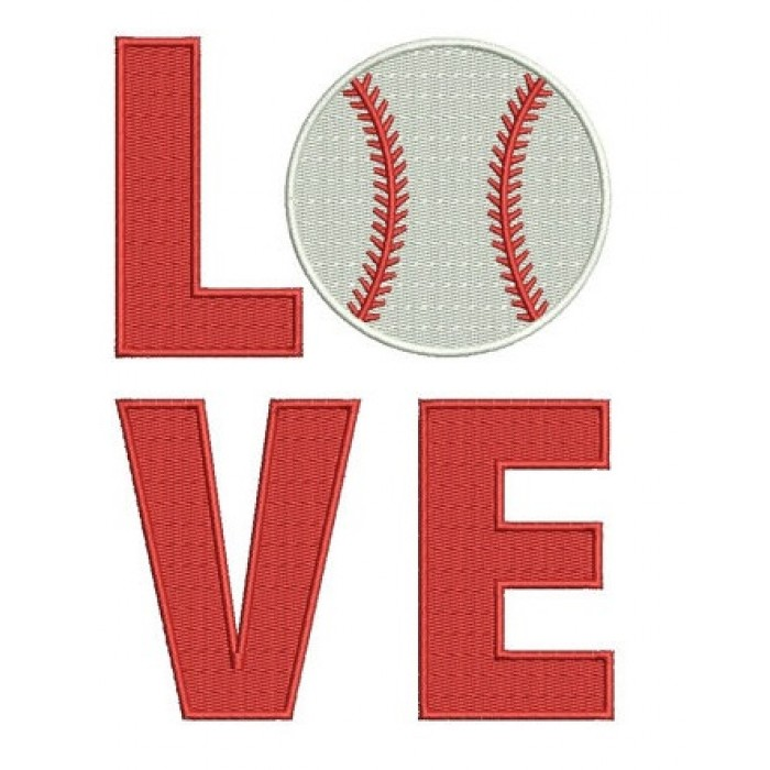 Love Baseball - Sport Instant Download Filled In Machine Embroidery Digitized Design - comes in three sizes to fit 4x4 , 5x7, and 6x10 hoops
