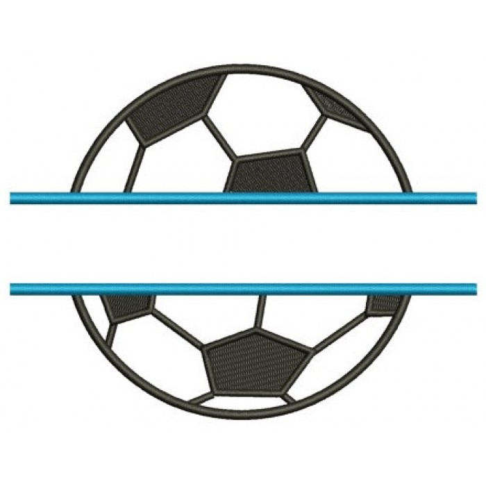 Soccer Ball Split Design Machine Embroidery Digitized Design Applique Pattern - Instant Download - 4x4 , 5x7, and 6x10 -hoops