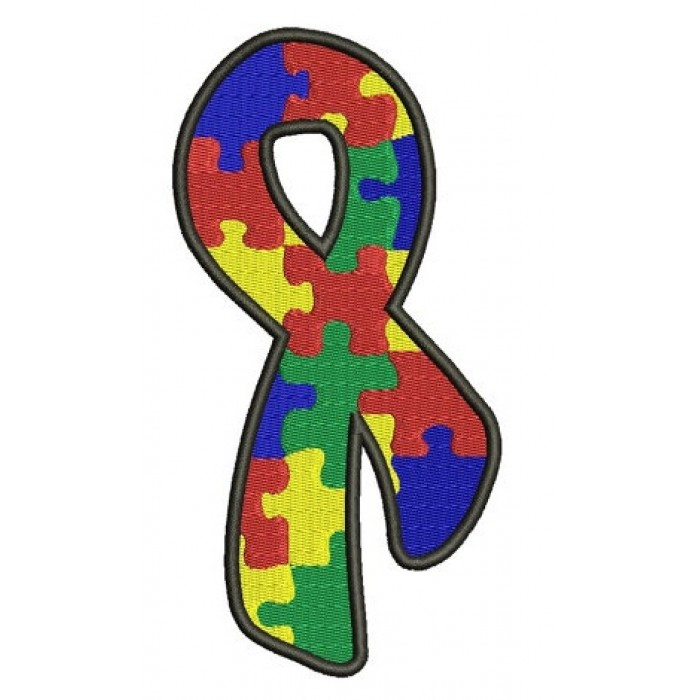 Support Autism Awareness with This Ribbon Machine Embroidery Digitized Design Pattern - Instant Download - 4x4 , 5x7, and 6x10 -hoops
