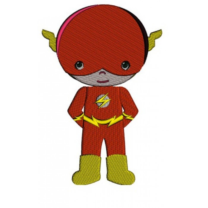 Cute Boy Flash Superhero's Little Brother - (hands in) Machine Embroidery Design