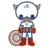 Instant Download Cute Captain America Little Brother (Shield Down) Superhero Machine Embroidery Applique